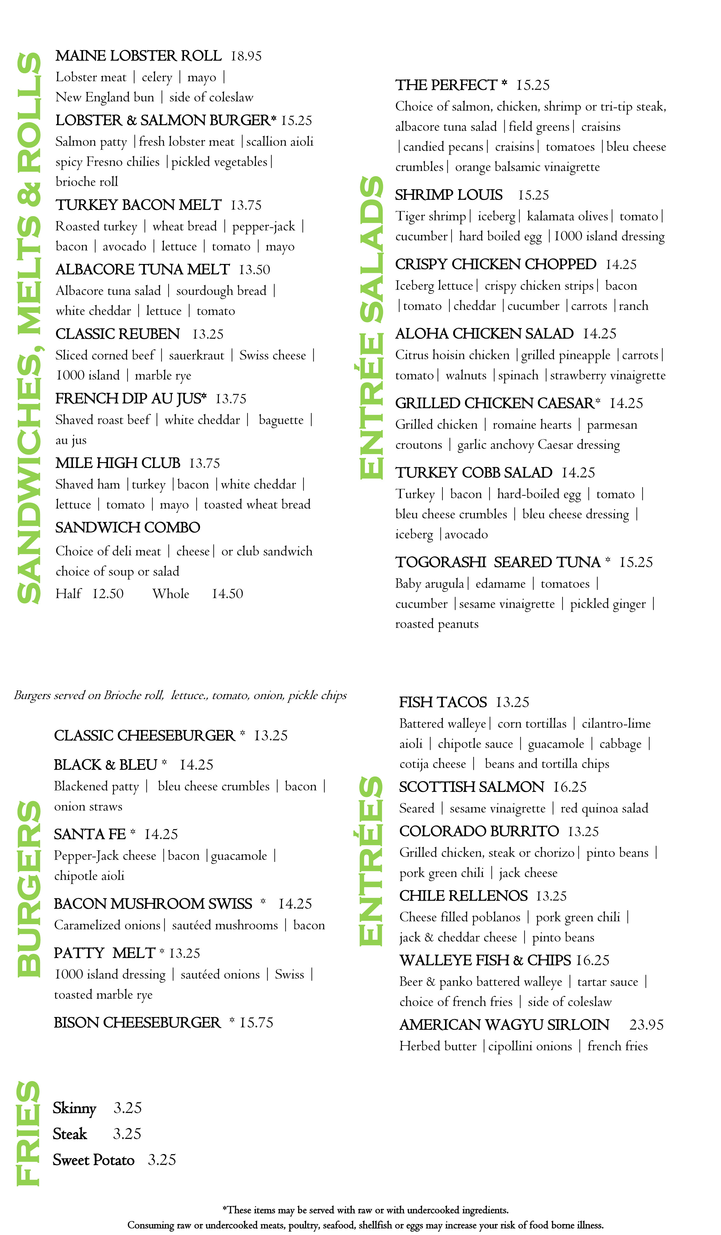Lunch menu 2018